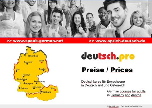 Fees German courses for adults in Germany and Austria