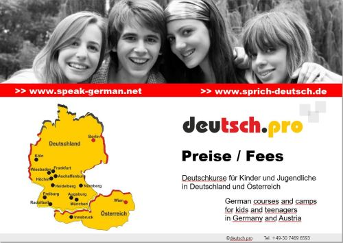 Fees German courses for children and teenagers in Germany and Austria